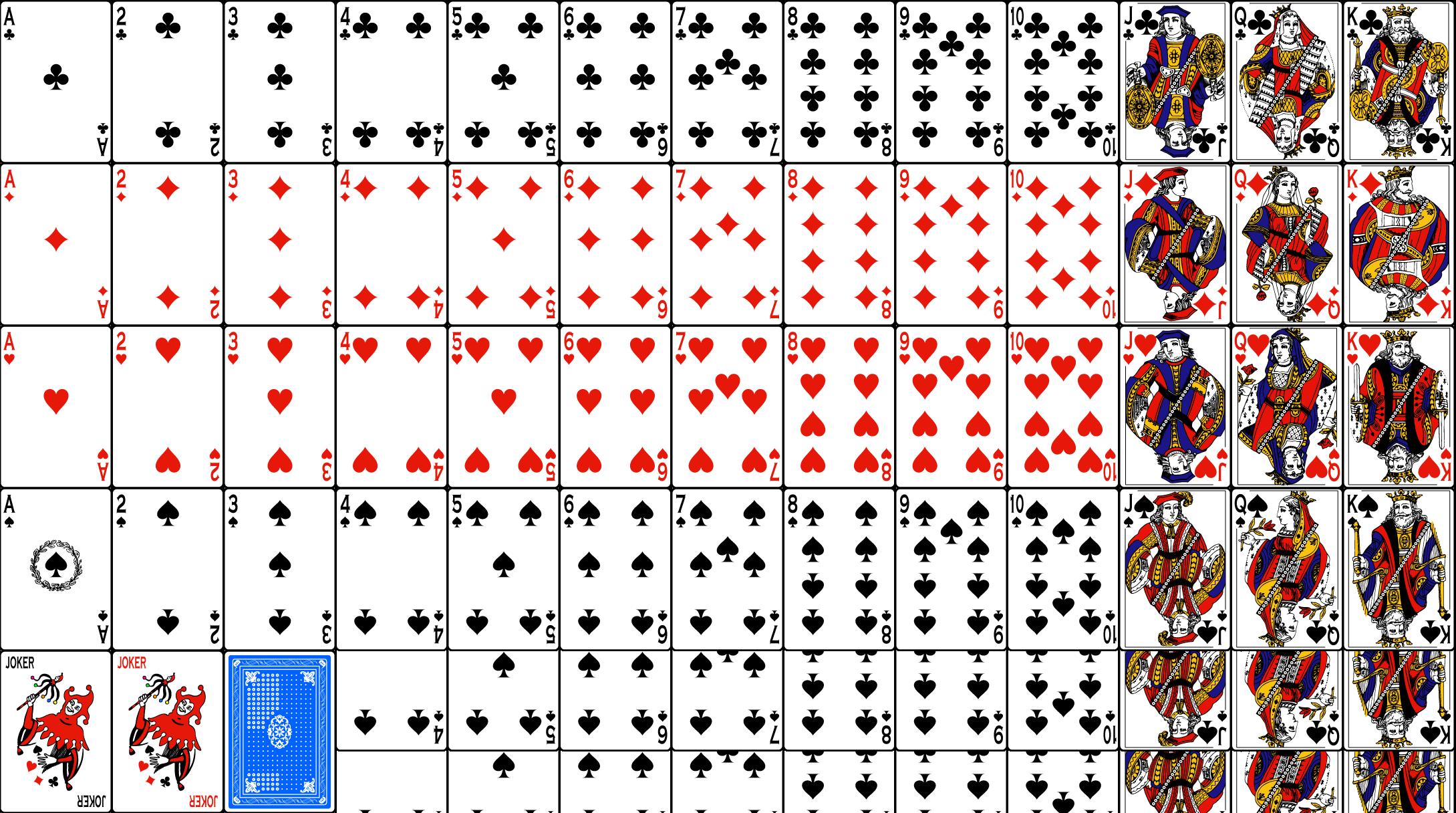 Количество карт в покерной колоде 52