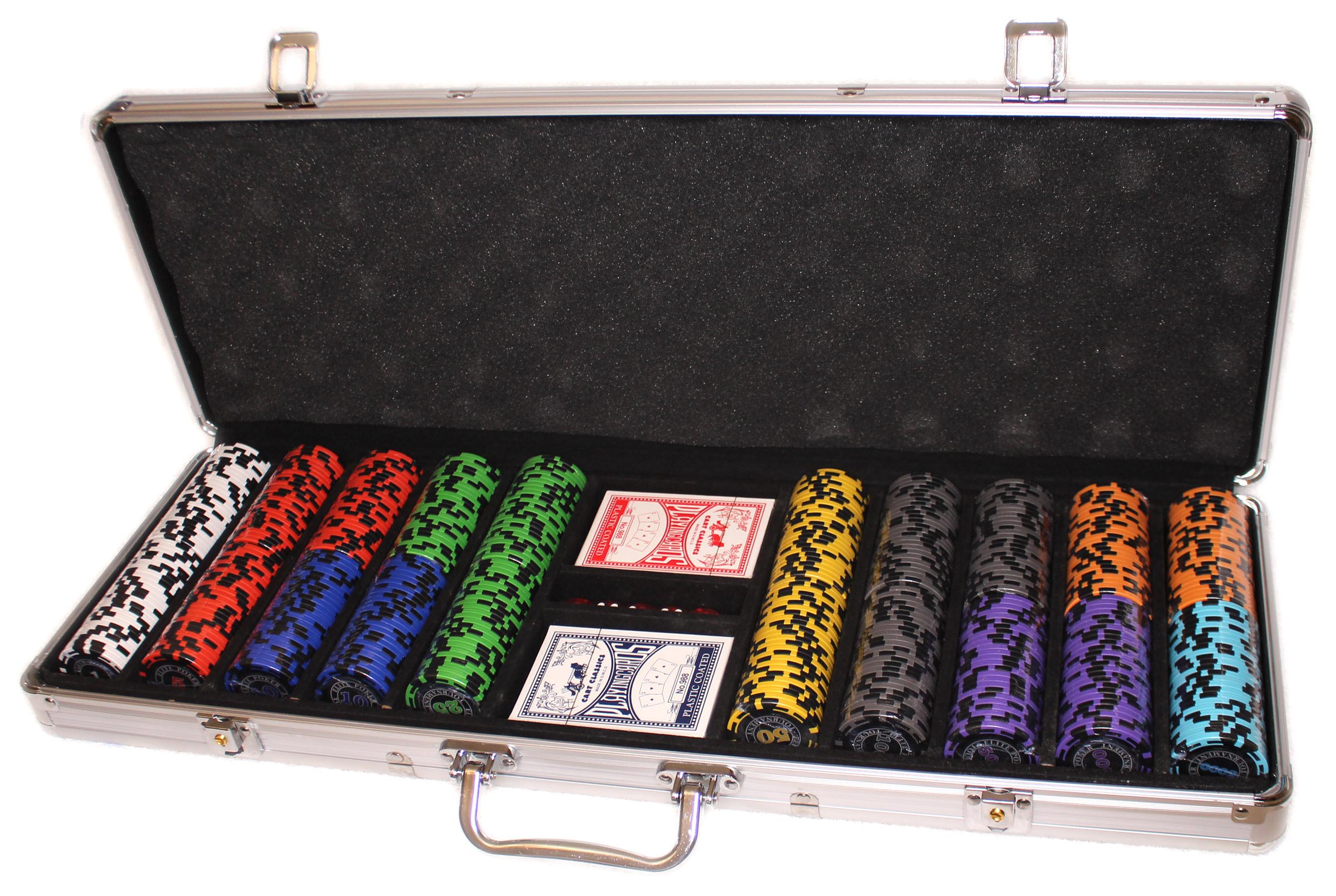 Набор для покера Elite Poker Tournament 500 фишки с номиналом