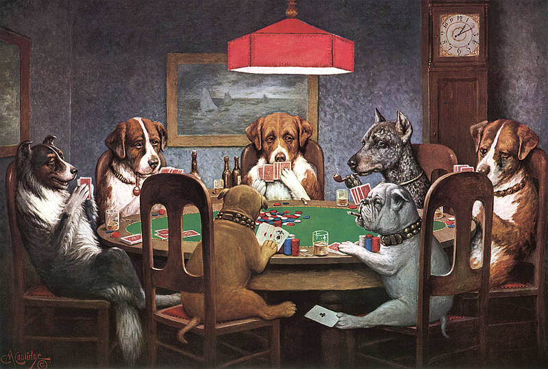 Картина Собаки грають в покер Друг пізнається в біді